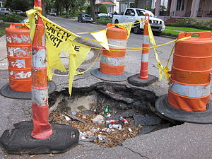 Pothole, corner of Short & Neron Streets, Carr...