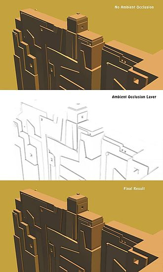 Global illumination - Example of an ambient occlusion layer