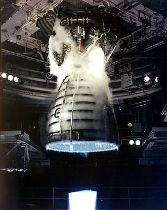 Space Shuttle main engine - Space Shuttle Main Engine test firing (the bright area at the bottom of the picture is a Mach disk)