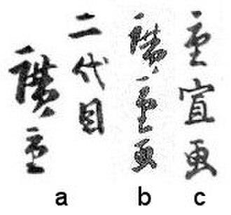 Hiroshige II - The signatures of Hiroshige II - a) nidaime Hiroshige, b) Hiroshige ga, and c) Shigenobu ga