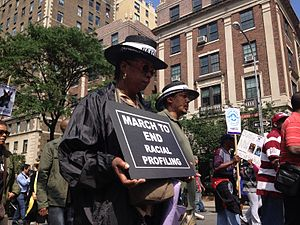 Stop-and-frisk in New York City - Demonstrators protest racial bias in policing, marching to then-Mayor Michael Bloomberg's house on June 17, 2012