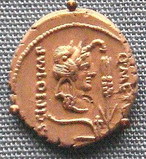 Quintus Caecilius Metellus Pius Scipio Nasica - Denarius of Metellus Scipio with elephant-skin headgear to represent African imperium (47-46 BC)