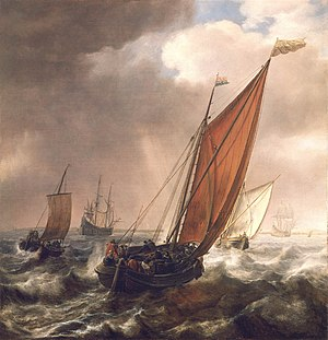 Simon de Vlieger - A Dutch Ferry Boat Before a Breeze
