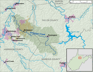 Simpson Creek (West Virginia) - Image: Simpson Creek WV map