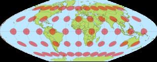 La proiezione sinusoidale di conservazione delle aree