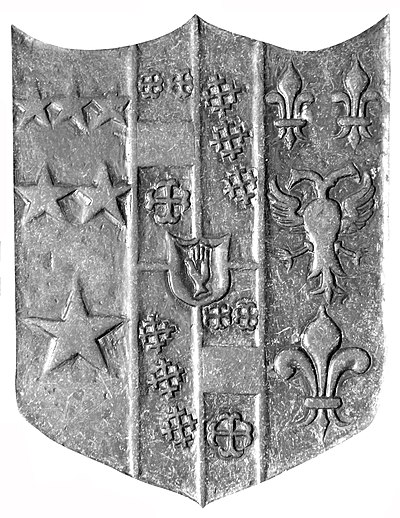 Arms of Sir Arthur Northcote, 2nd Baronet (1628-1688), detail from ledger stone, King's Nympton Church, Devon, England SirArthurNorthcote 2nd BaronetArms 1707SlabKingsNympton.JPG
