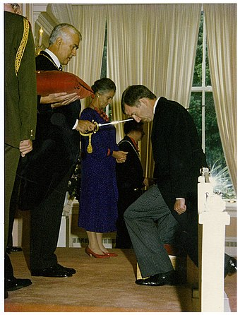 Reeves knighting Sir Ron Brierley at an investiture ceremony Sir Paul Reeves knights Ron Brierley.jpg