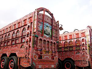 Truck art in South Asia - The backs of Pakistani trucks are often intricately decorated.