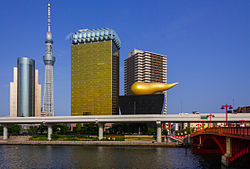 From left, Sumida City Office, Tokyo Skytree, and Asahi Breweries headquarters