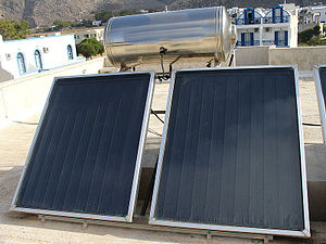 Solar thermal collector - Flat plate thermal system for water heating deployed on a flat roof