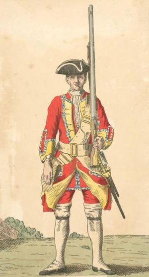 34th (Cumberland) Regiment of Foot - Soldier of 34th regiment, 1742