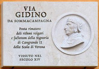 Sommacampagna - A plaque dedicated to the local poet Gidino di Sommacampagna