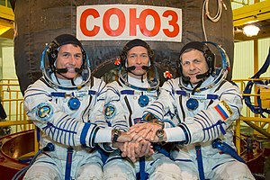 Andrei Borisenko -  Borisenko(right), pictured with Soyuz MS-02 crew members Shane Kimbrough(left), and commander Sergey Ryzhikov(centre)