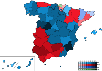 Spain (European Parliament constituency) - Image: Spain Province Map European 2009