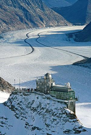 Jungfraujoch railway station - The Sphinx observatory above the Aletsch Glacier