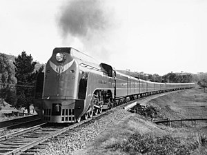 Victorian Railways - The Spirit of Progress headed by S301 Sir Thomas Mitchell near Kilmore East in 1938