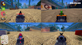 Split-screen 4-player multiplayer in SuperTuxKart (2017, 0.9.3).png