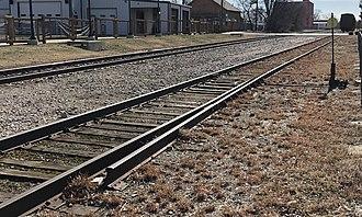 Derail - Split rail type derail on the A&M in Rogers, Arkansas