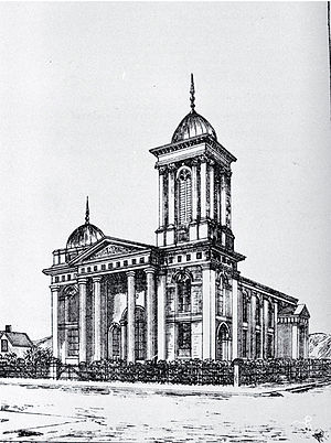 St Paul's Church, Christchurch - St Paul's Presbyterian Church in 1885, with its high tower that was lowered in 1962