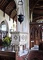 St Withburga, Holkham, Norfolk - Interior with pulpit - geograph.org.uk - 320392.jpg