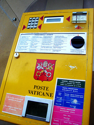 Philatelic and Numismatic Office of the Vatican City State - The stamp vending machine of the Vatican Postal Service.