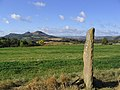 Standing stone and the Eildon Hills - geograph.org.uk - 588593.jpg