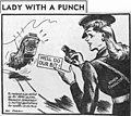 StateLibQld 2 107876 Ian Gall cartoon, captioned 'Lady with a punch', recruiting female tram conductors during World War II in Brisbane, Queensland.jpg
