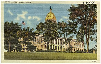 Maine State House - Maine State House featured on a postcard from the 1930s