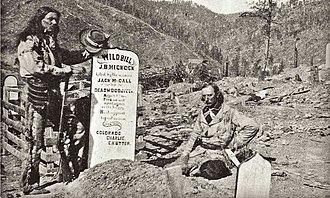Mount Moriah Cemetery (South Dakota) - Steve and Charlie Utter at the grave of Wild Bill Hickok.