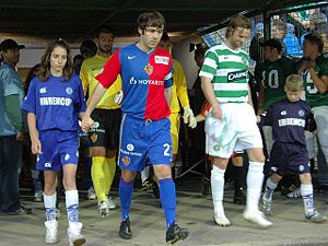 Steven Pressley - Pressley leads out the Celtic team for a friendly match against FC Basel in July 2007.