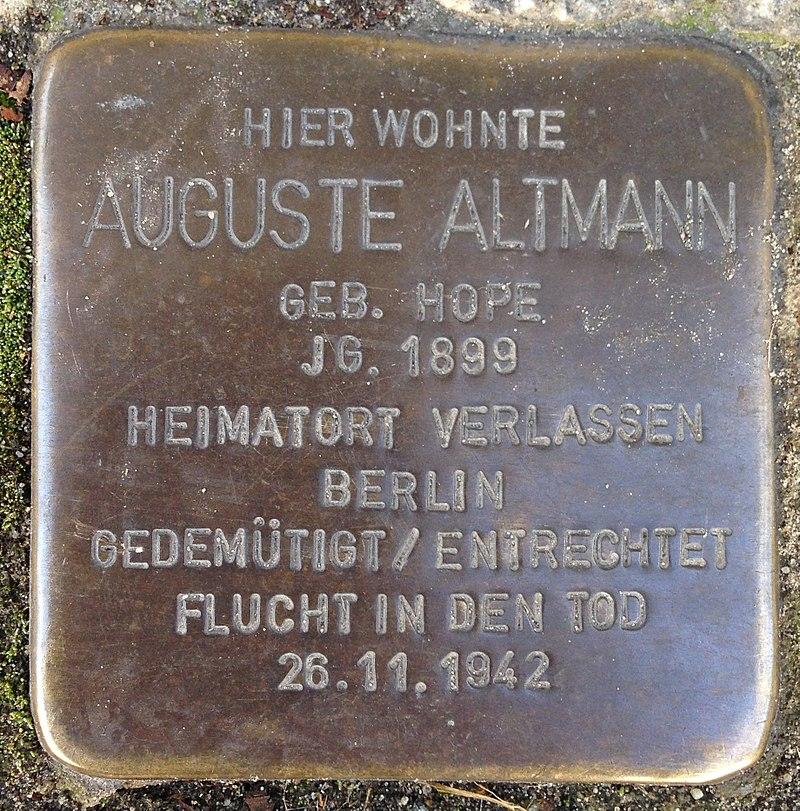 Stolperstein Verl Hauptstraße 33 Auguste Altmann