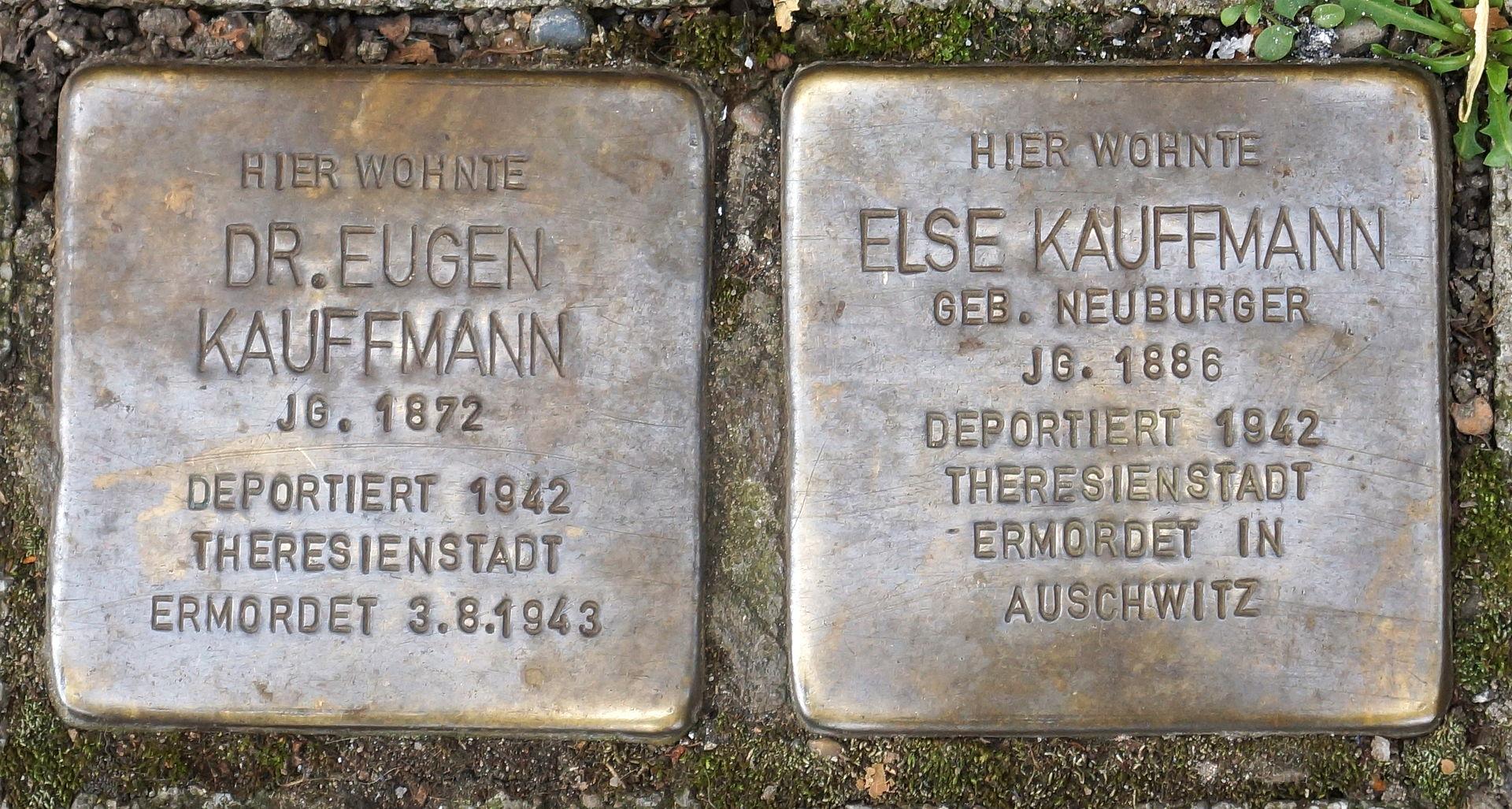Stolpersteine - Stuttgart - Daimlerstraße 44 - Dr. Eugen, Else Kauffmann.JPG