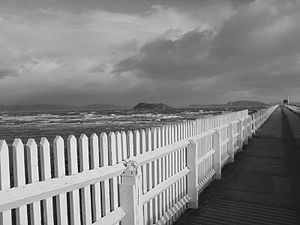 Petone - Petone Wharf on a stormy day