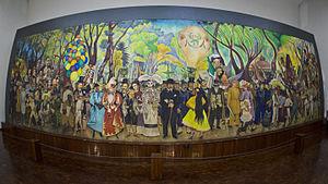 Sueño de una Tarde Dominical en la Alameda Central - The actual mural located at Museo Mural Diego Rivera in Alameda Park, Mexico City.