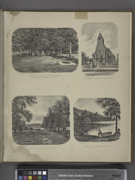 File:Sulphur Springs at Richfield, N.Y. In Harpers Magazine several years ago.; Episcopal Church, Richfield Springs.; Scene on Schuyler Lake, N.Y.; Scene on Otsego Lake, N.Y. NYPL1602776.tiff