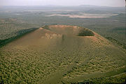Sunset Crater, a typical cinder cone with little vegetation.