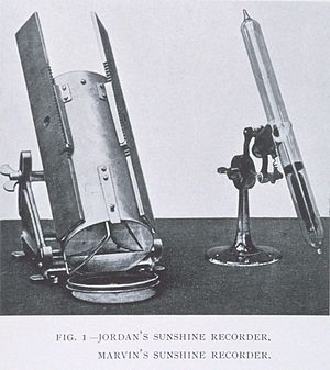 Sunshine recorder - A Jordan sunshine recorder (left).  The other instrument is a Marvin sunshine recorder.