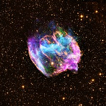 Supernova Remnant W49B in x-ray, radio, and infrared.jpg