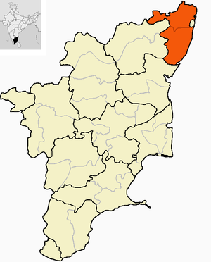 Chingleput District (Madras Presidency) - Location of Chingleput district at the time of the formation of Madras State in 1956