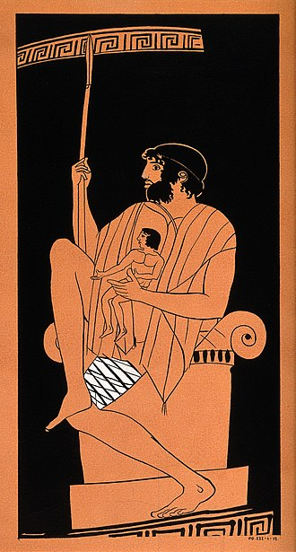 Telephus - Telephus seated on altar, with bandaged thigh, holding a spear and the infant Orestes. Detail from an Athenian red-figure pelike, c. 450 BC,  British Museum E 382.