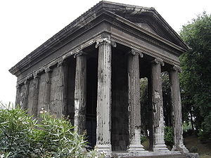 Portico - Temple of Portunus in Rome, with its tetrastyle portico of four Ionic columns