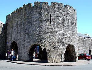 Tenby - Five Arches Gate, part of the old town walls of Tenby