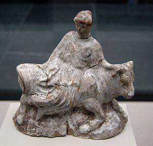 Europa (mythology) - Terracotta figurine from Athens, c. 460–480 BC