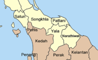 The involved provinces and surrounding area of Thailand and Malaysia