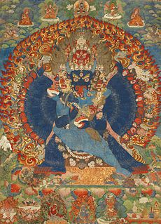 Thangka Tibetan Buddhist painting on cotton, or silk appliqué, usually depicting a Buddhist deity, scene, or mandala.