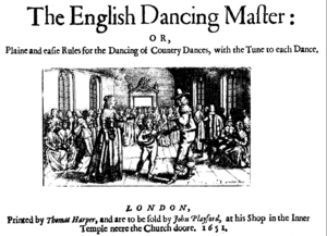 British folk revival - Title page of the 1st edition of The Dancing Master (1651)