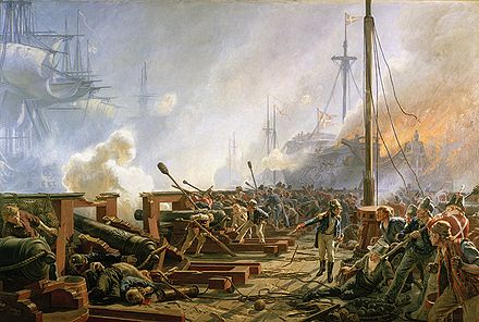 The Battle of Copenhagen. Painting by Christian Molsted. (view from a floating battery) The Battle of Copenhagen 1801 by Christian Molsted.jpg