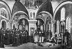 Moartea lui Boris Godunov, scenă din premiera mondială din 1874