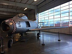 "The F-86 ""Sabre"" on display at the Aerospace Museum of California.jpg"
