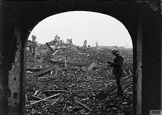 Preston Rifles - Ruins of La Bassée after its capture, October 1918.